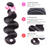 lumiere Hair Malaysian Body Wave Virgin Hair 2 Bundles with 360 Lace Front Closure Human Hair - lumiere Hair