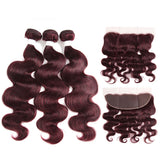 color 99j body wave 3 Bundles With 13x4 Lace Frontal Pre Colored Ear To Ear