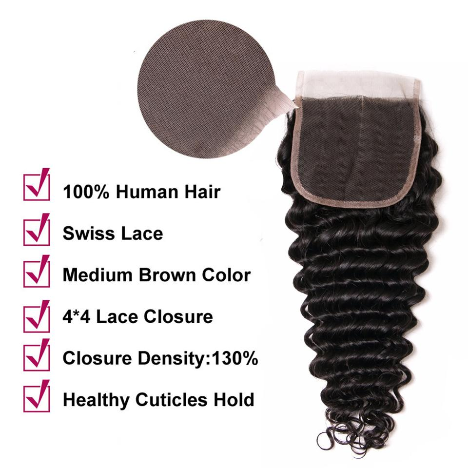 lumiere Hair 1 Piece Deep Wave Virgin Human Hair 4x4 Lace Closure