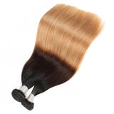 lumiere Hair 2 Bundles Ombre 1b/4/27 Color Straight Virgin Human Hair Extension