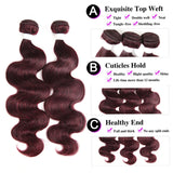 lumiere color 99j Sbody wave 4 Bundles With 4x4 Lace Closure Pre Colored human hair