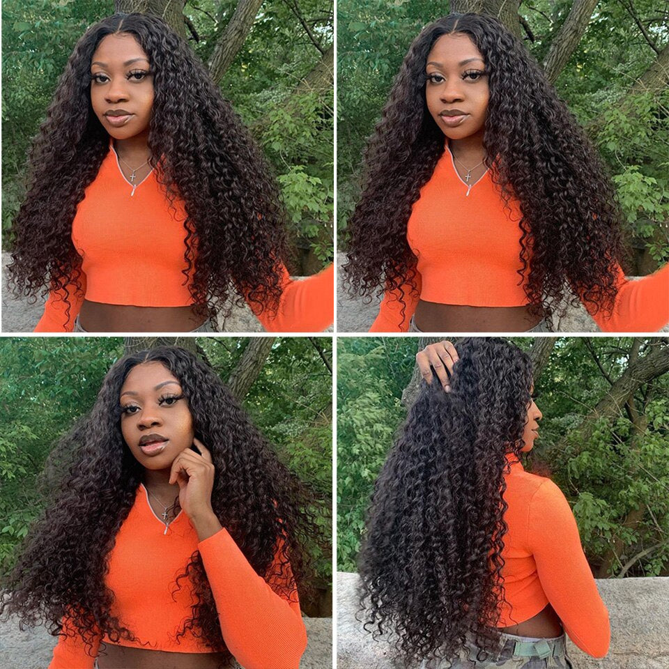 lumiere Malaysian Virgin Hair Deep Wave 3 Bundles with 13*4 Lace Frontal