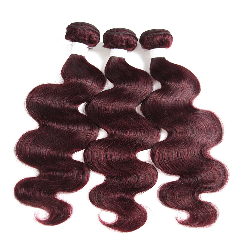 Color 99j body wave 3 Bundles 100% Virgin Human Hair Extension