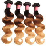 lumiere Brazilian Ombre Body Wave 4 Bundles with 4X4 Closure Human Hair Free Shipping