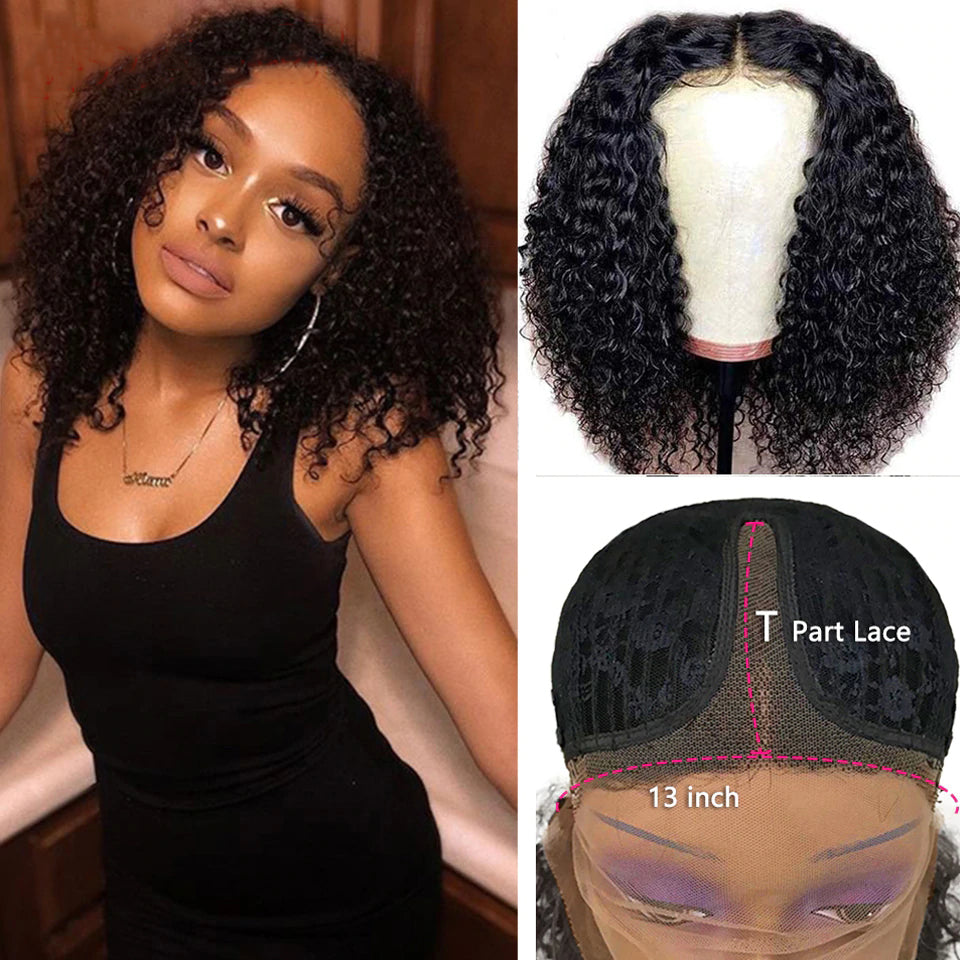 lumiere Short Bob Lace Front Wigs Kinky Curly T-Part Lace Human Hair Wigs Pre-Plucked