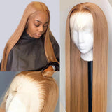 lumiere Straight lace closure & frontal wigs #27 colored human hair wigs with baby hair