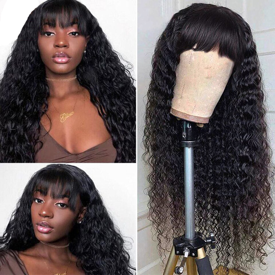 Lumiere Kinky Curly Machine Made None Lace Wig With Bangs Human Hair Wigs