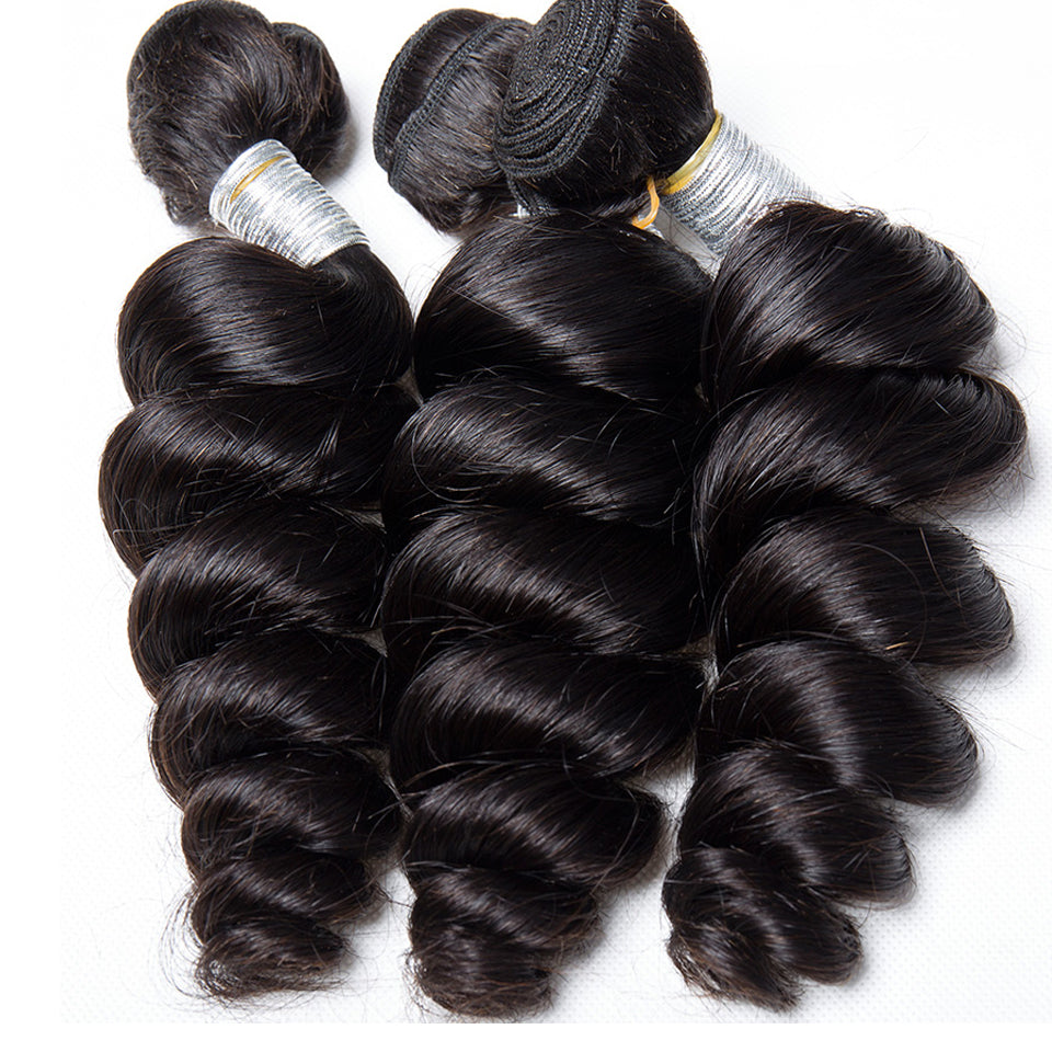 Loose Wave 3 Bundles With Closure 5x5 6x6 lace 100% virgin human hair