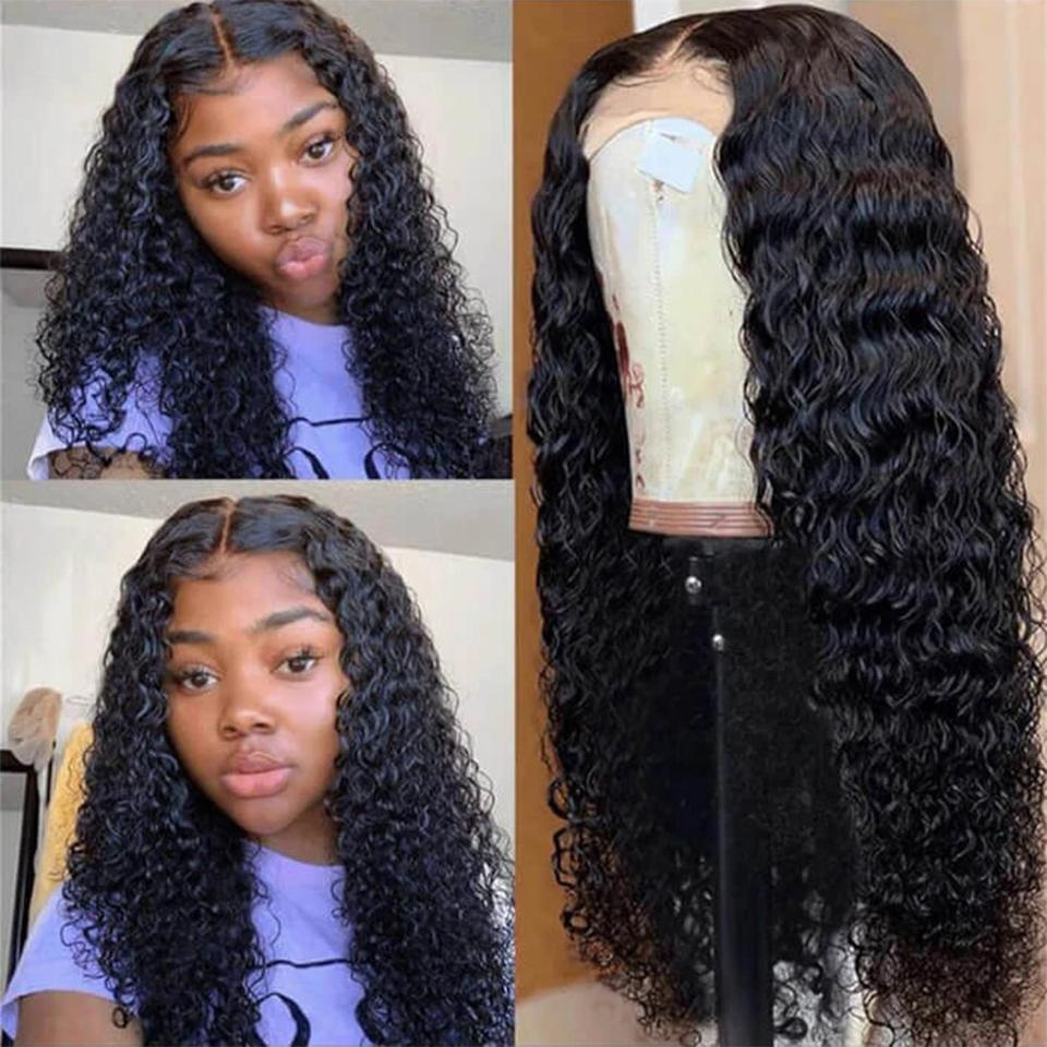 Water wave 180% Density Pre-Plucked Realistic Glueless Human Hair Full Lace Wigs