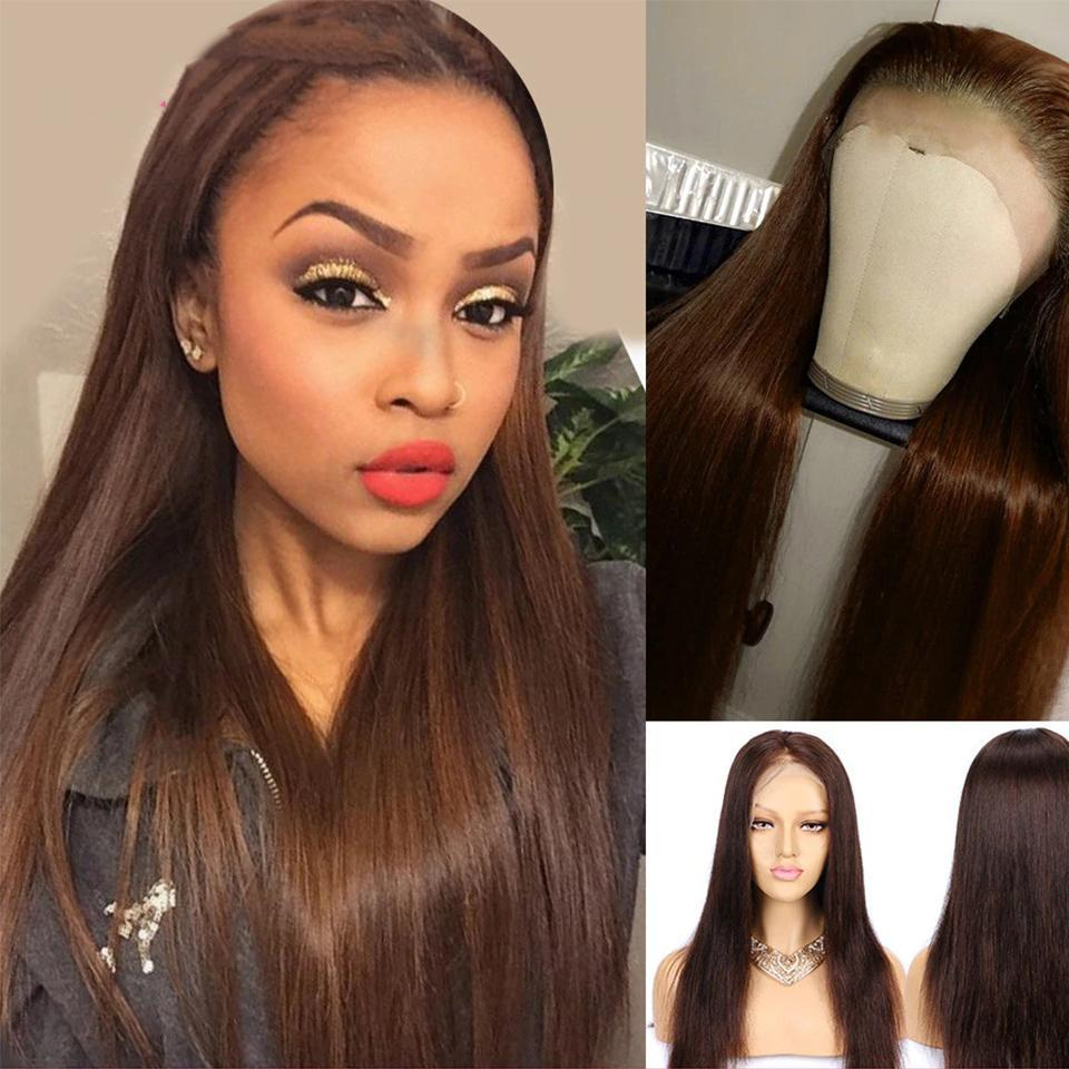 lumiere Straight lace frontal wigs #4 colored human hair wigs pre-plucked with baby hair