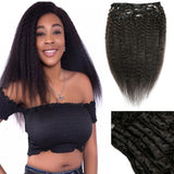 Lumiere Hair Yaki Straight Clip In Human Hair Extensions Natural Color 8 Pieces/Set Full Head Sets 120G Ship Free