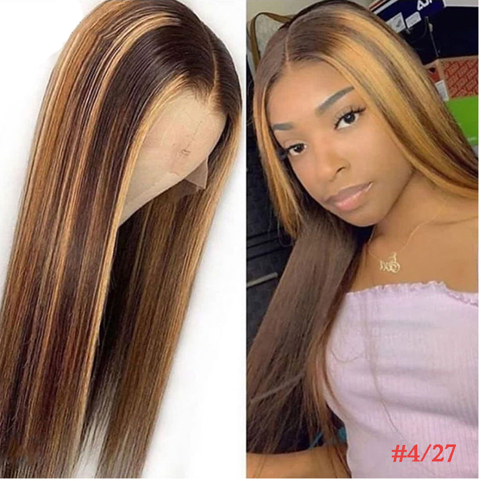 #4/30 #4/27 Ombre Lace Front Wig Highlight Human Hair Wigs Pre Plucked