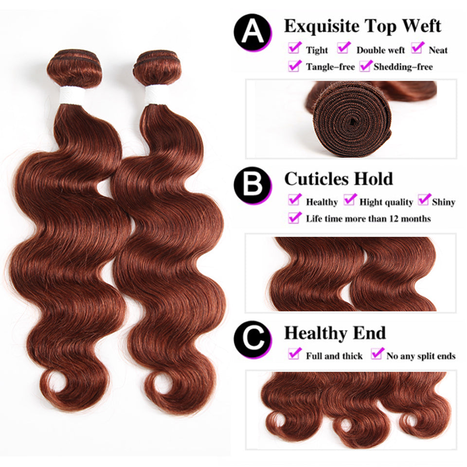 color #33 body wave 3 Bundles With Closure 4x4 pre Colored 100% virgin human hair
