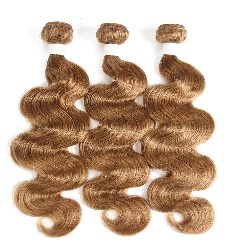 Color #27 light Brown Body Wave Weave 3 Bundles Virgin Human Hair Extension