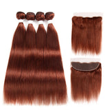 Color #33 straight hair 4 Bundles With 13x4 Lace Frontal Pre Colored Ear To Ear