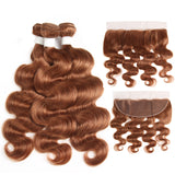 Color #30 body wave 4 Bundles With 13x4 Lace Frontal Pre Colored Ear To Ear