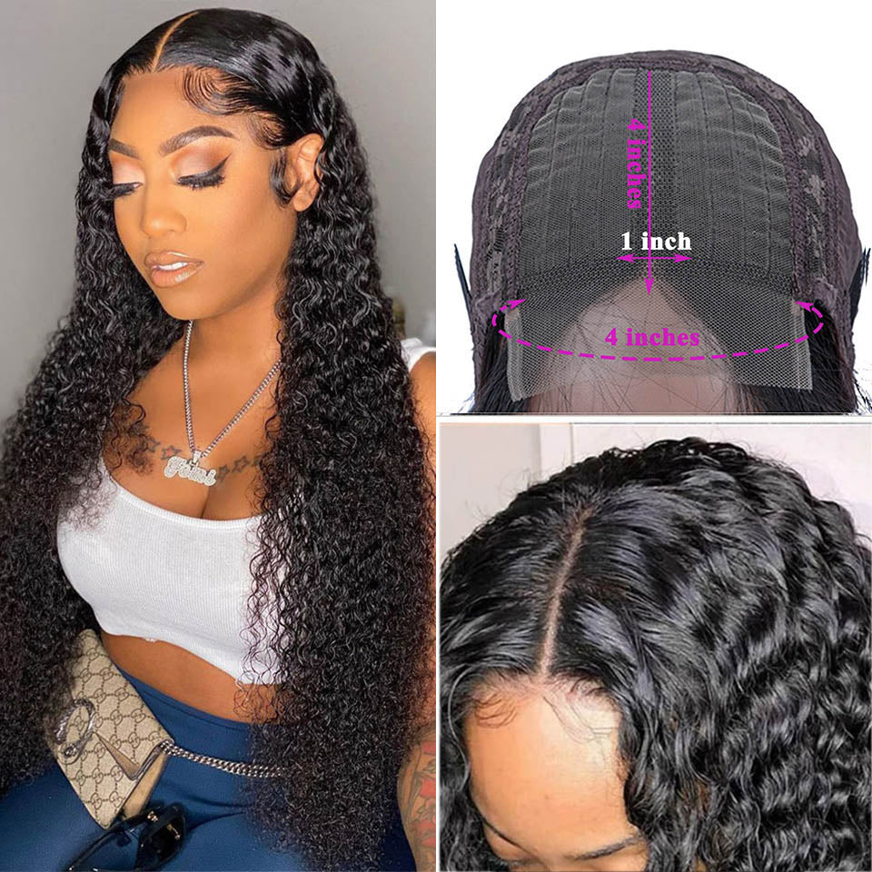 Kinky Curly Human Hair Wigs 4x4x1 T Part Lace closure Wig For Black Women Prelucked Hairline