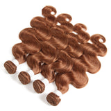 color #30 body wave 4 Bundles With 4x4 Lace Closure Pre Colored human hair