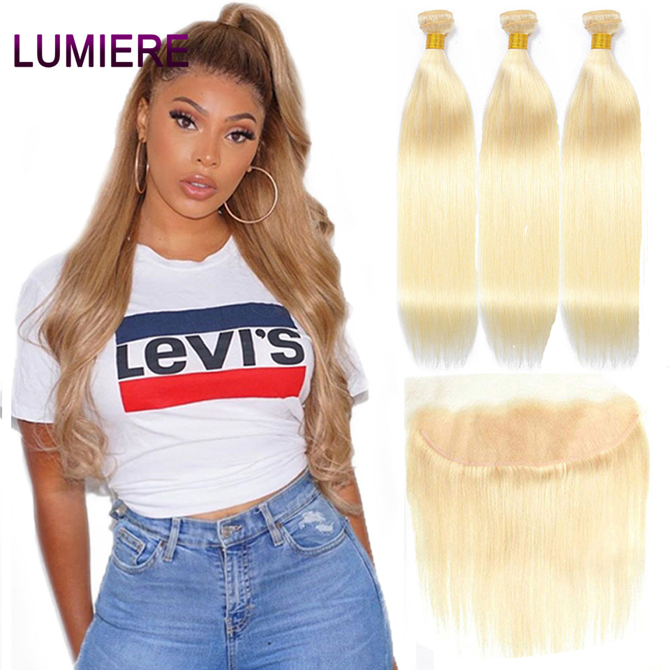 613 Blonde Straight hair 3 Bundles with 13*4 Frontal transparent lace