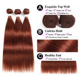 lumiere color #33 straight hair 3 Bundles With 13x4 Lace Frontal Pre Colored Ear To Ear
