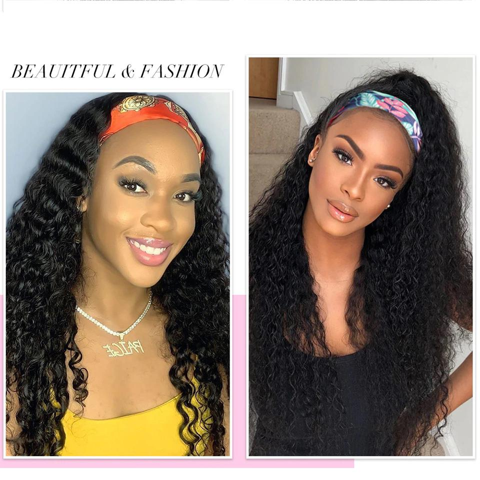 Lumiere Headband Human Hair Wig Glueless kinky curly Machine Made Non-Lace Wigs