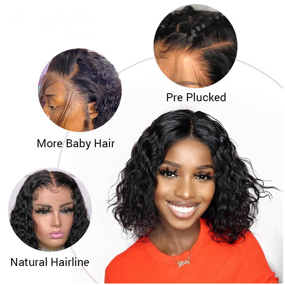 Water Wave Short Bob 4x4x1 T Part Lace Front Human Hair Wigs Pre-plucked with Baby Hair