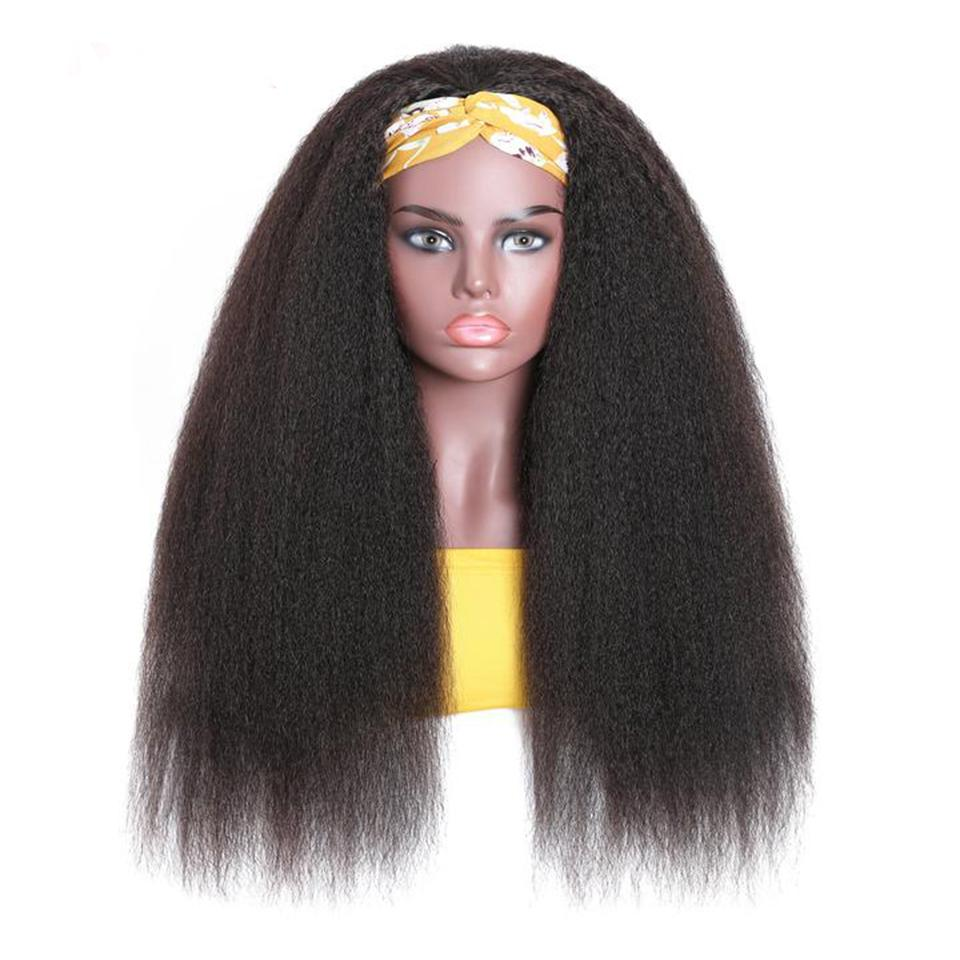 Headband Human Hair Wig Glueless Yaki Straight Machine Made Non-Lace Wigs
