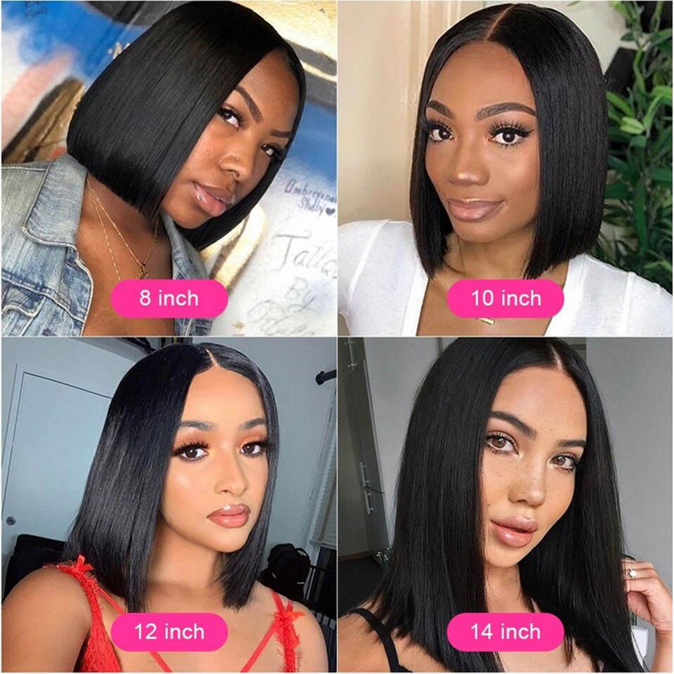 Straight Short Bob 4x4x1 T Part Lace Front Human Hair Wigs Pre-plucked with Baby Hair