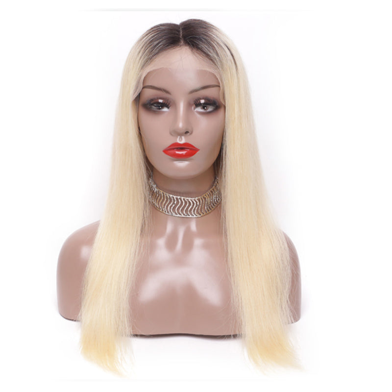 Straight Hair 13x4 Lace Front Wigs 1B 613 Ombre Blonde Colored Preplucked