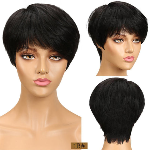 Short Bob Wigs For Women Straight Natural Wave Pixie Cut None Lace Wigs 100% Human Hair Wigs