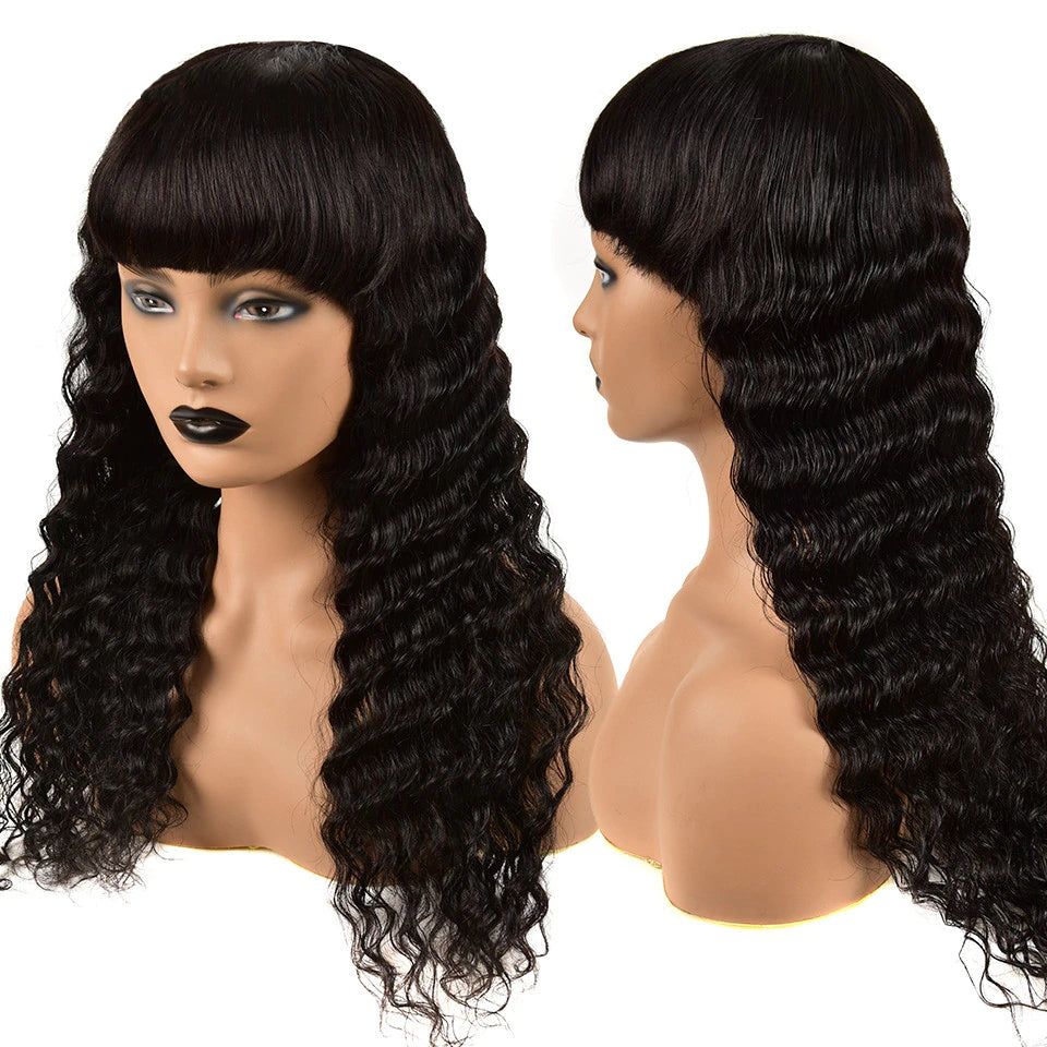 Lumiere Deep Wave Full Machine Made None Lace Front With Bangs 8-24 Inches Virgin Human Hair Wigs