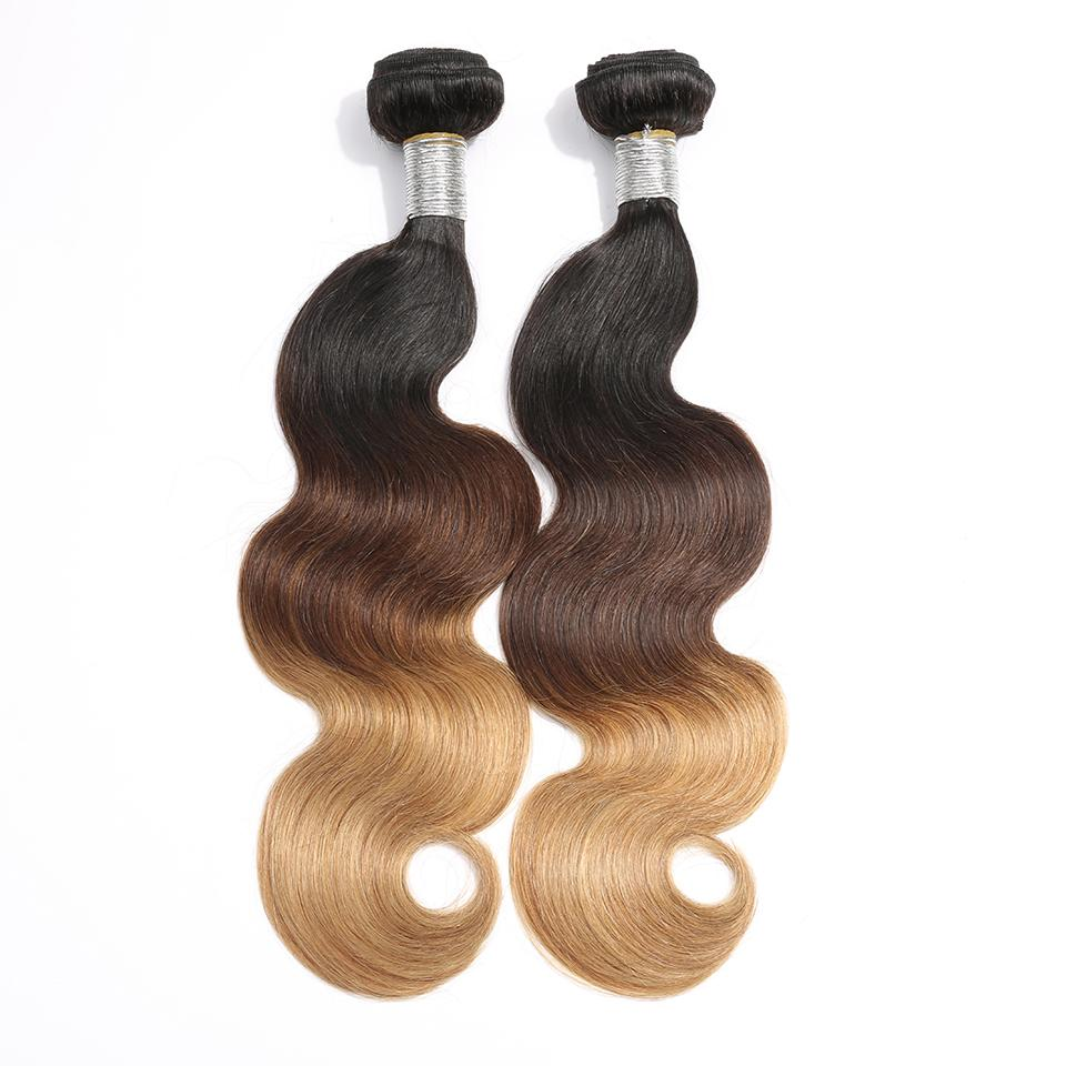 lumiere Hair 2Bundles Ombre 1b/4/27 Color Body Wave Virgin Human Hair Extension