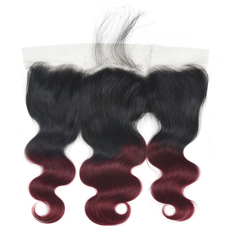 lumiere 1B/99J Ombre Body Wave 3 Bundles With 13x4 Lace Frontal Pre Colored Ear To Ear