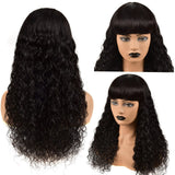 Water Wave Full Machine Made None Lace Front Wigs With Bangs Human Hair Wigs