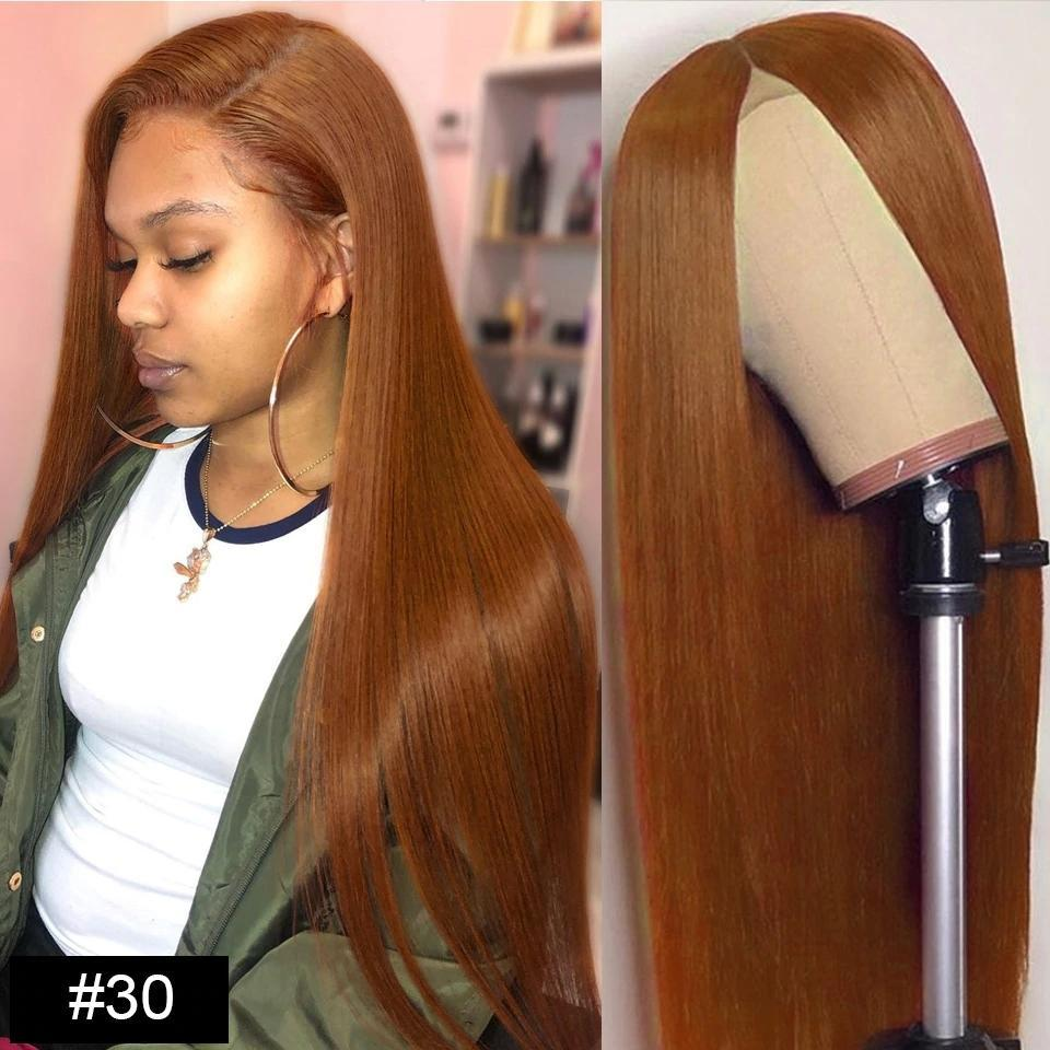 lumiere Straight lace closure & frontal wigs #30 colored human hair wigs pre-plucked 150% Density