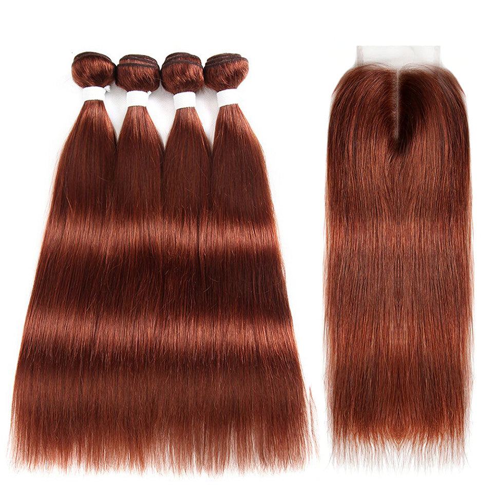 lumiere color #33 Straight Hair 4 Bundles With 4x4 Lace Closure Pre Colored human hair