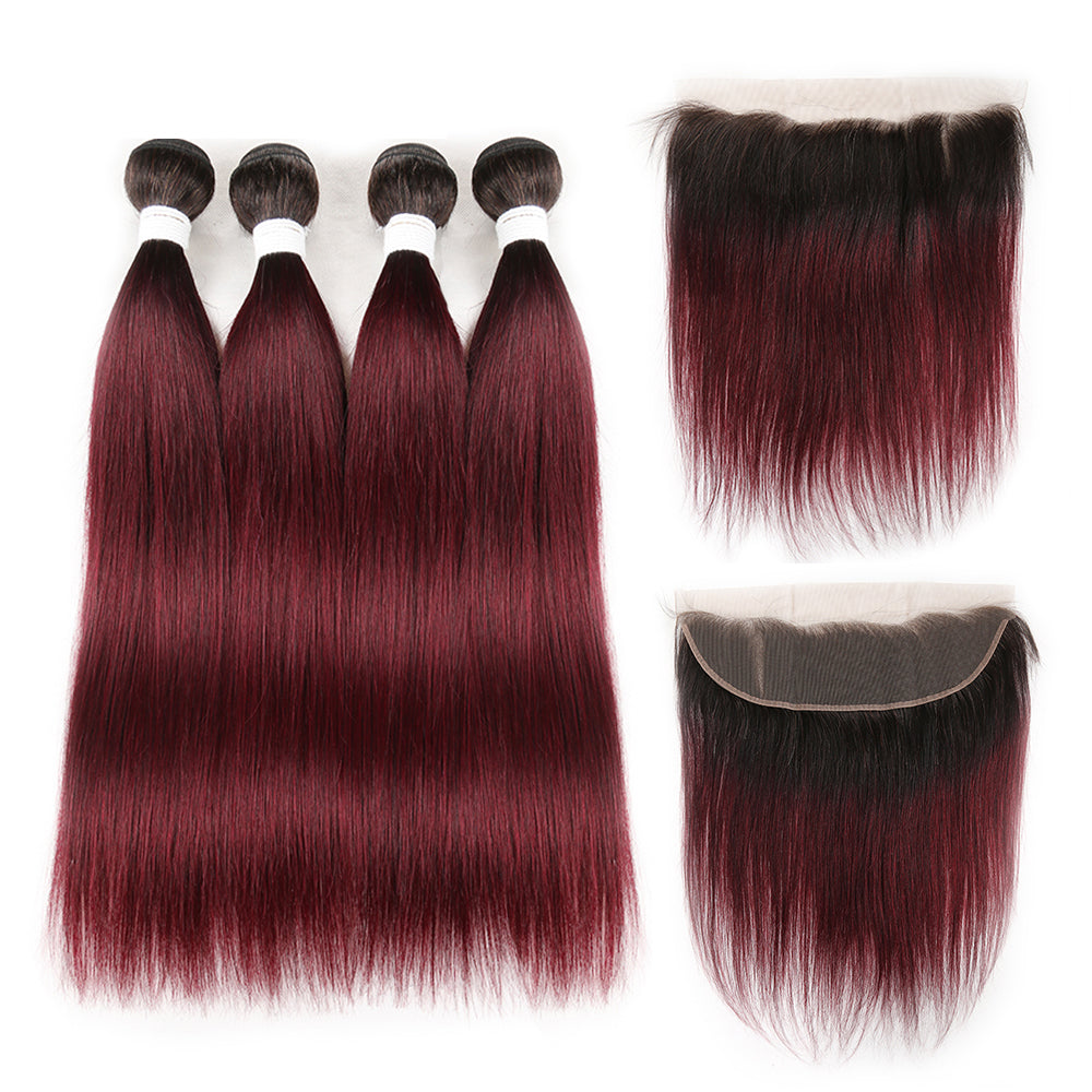 lumiere 1B/99J Ombre Straight Hair 4 Bundles With 13x4 Lace Frontal Pre Colored Ear To Ear