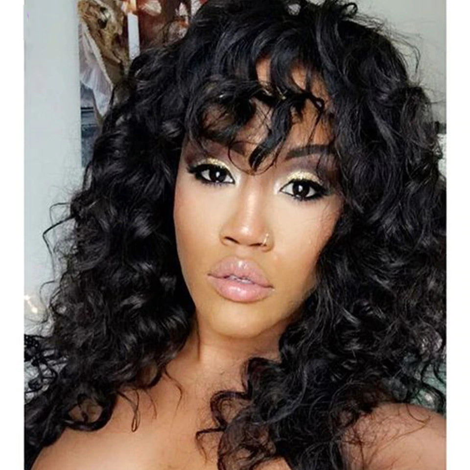 Loose Deep Wave Wig Human Hair Wigs For Black Women Full Machine None Lace Wig With Bang