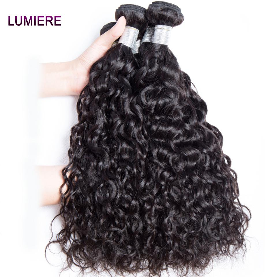 lumiere hair Indian Virgin Hair Water Wave 4 Bundles With 4X4 Lace Closure