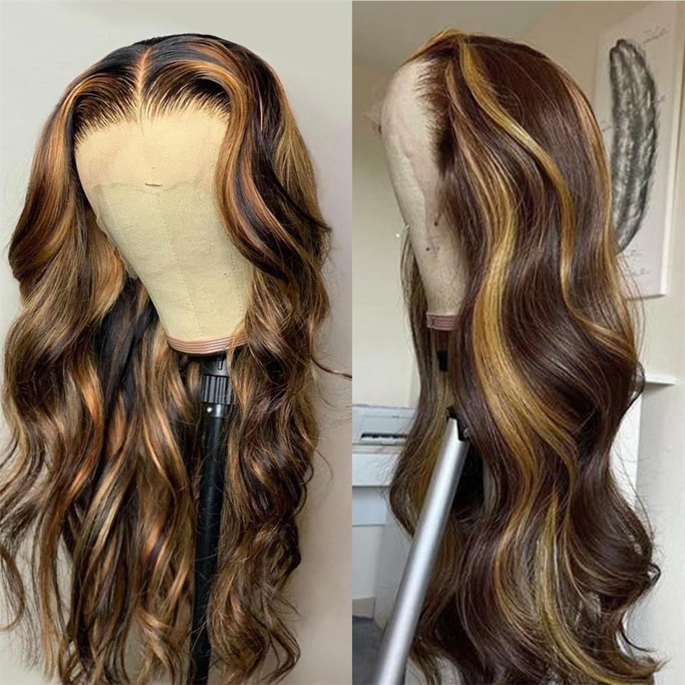 Highlight 13x4 Lace Front Human Hair Wigs Honey Blonde Body Wave Wig Brazilian Ombre Brown Pre Plucked for Women