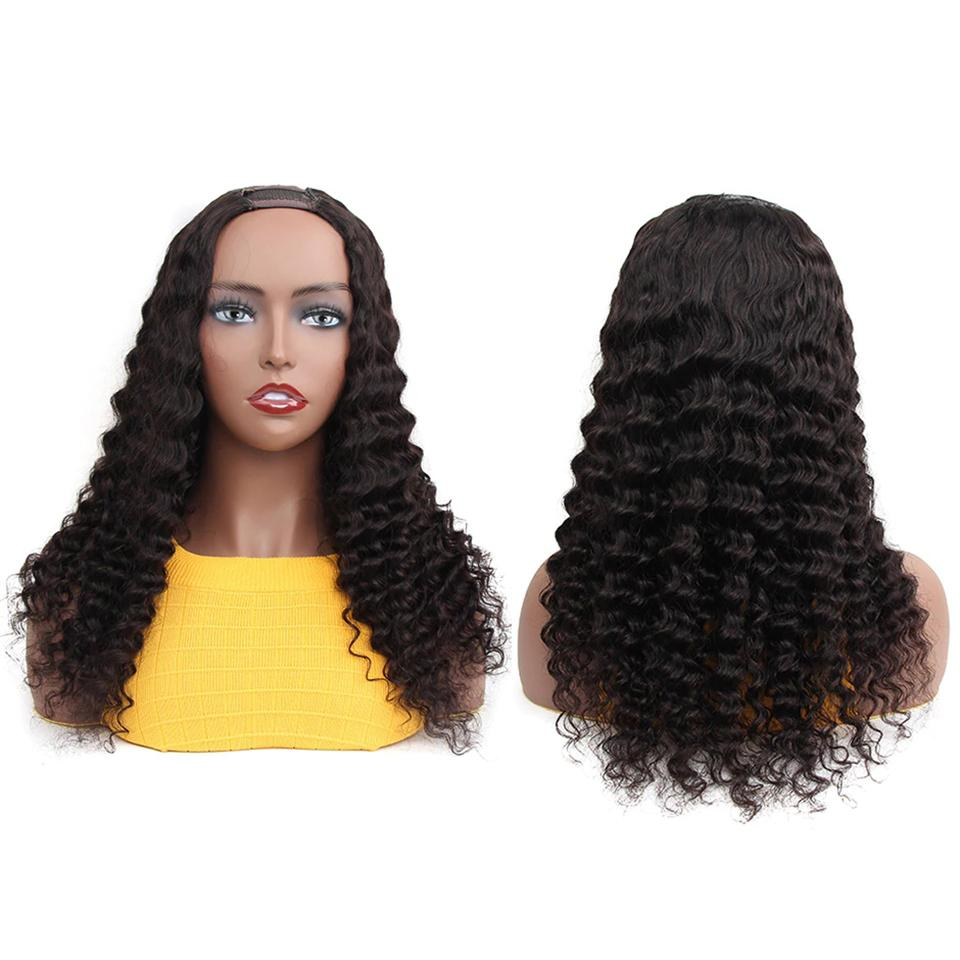 U Part Wig Human Hair Wig Loose Deep Glueless Human Hair Wigs Natural Black Brazilian Virgin Hair For Black Women