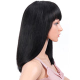 14 Inch Short Cut Pixie Straight Bob Wig Full Machine Made None Lace Wigs With Bang
