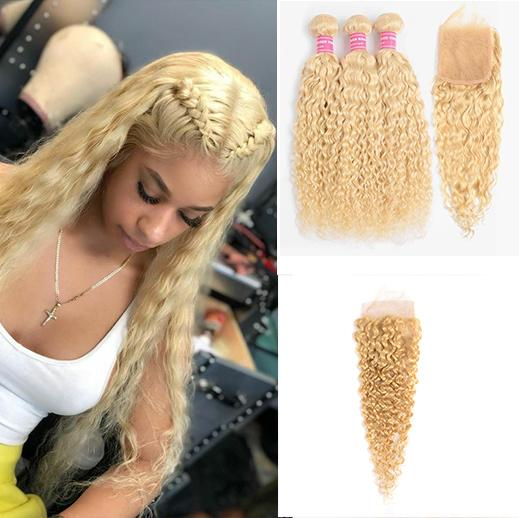 613 Blonde Water Wave 3 Bundles with 4x4 closure with transparent lace