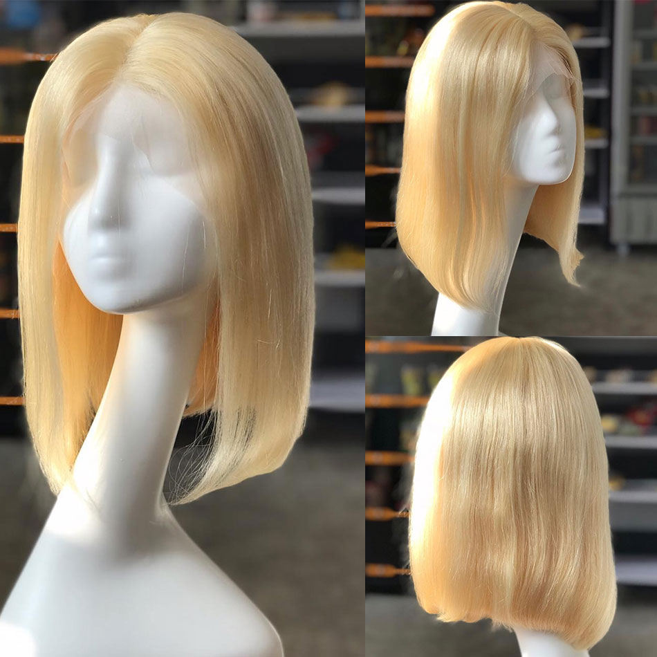 613 Blonde Straight Lace Front Bob Wigs Brazilian T Part Lace Front Wigs For Black Women