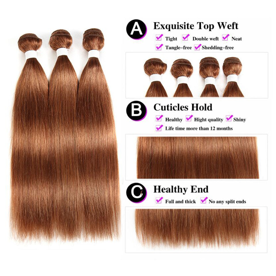lumiere Color #30 Straight Hair Weave 3 Bundles 100% Virgin Human Hair Extension