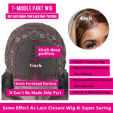 Lumiere #4/30 #4/27 Highlight Colored Human Hair Wigs Pre Plucked Lace Front Ombre T Part Wig For Black Women