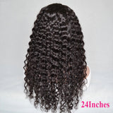 Deep Wave Full Machine Made None Lace Human Hair Wigs With Bangs 8-24 inches Human Hair