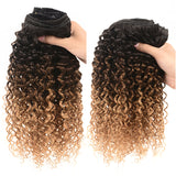 Lumiere Hair Afro curly Clip In Human Hair Extensions 1b/4/27 color 8 Pieces/Set Full Head Sets 120G Ship Free