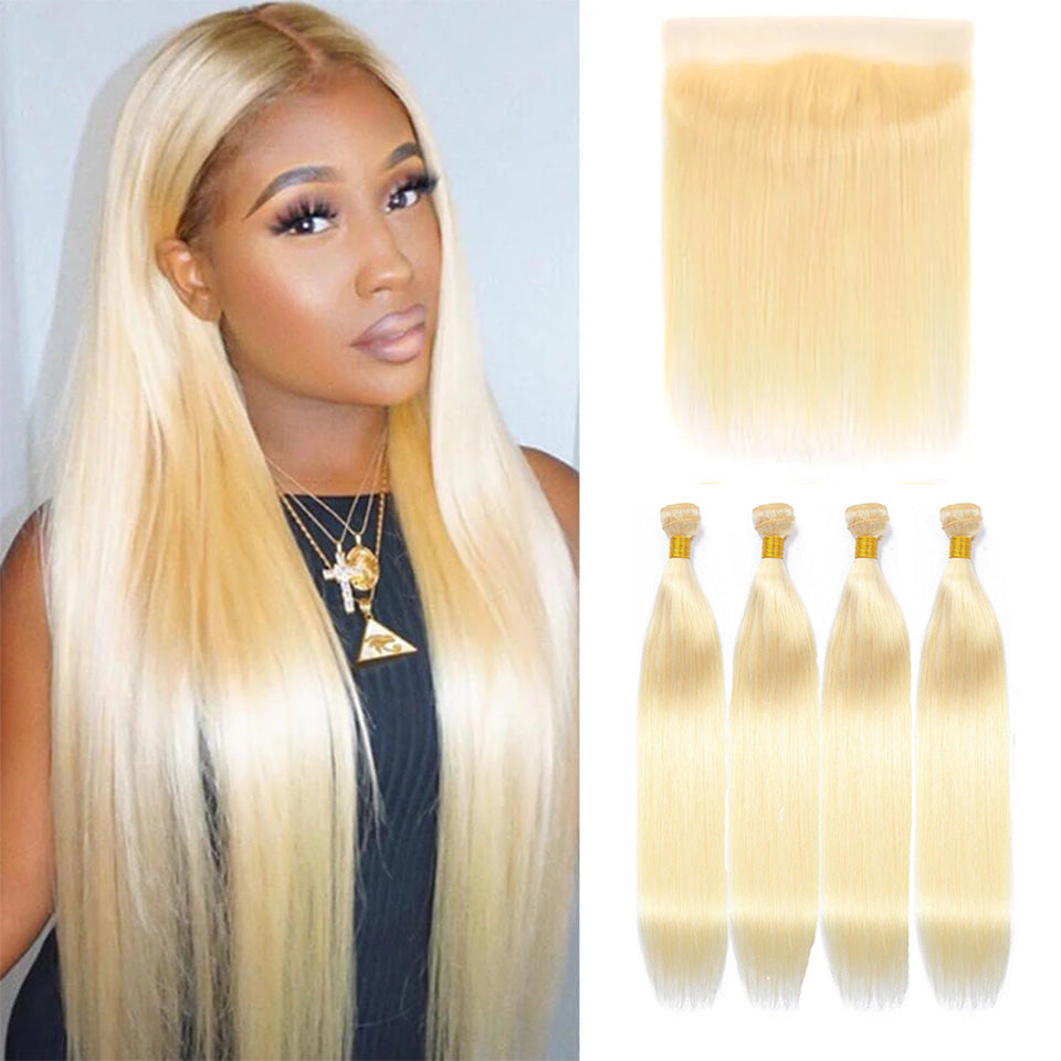 613 Blonde Straight 4 Bundles with 13*4 Frontal Human Virgin Hair transparent lace