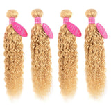 613 Blonde Water Wave 3 Bundles with 13x4 frontal transparent lace with baby hair